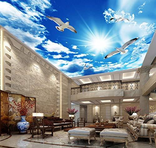 Suwhao Aangepaste Grote Plafond Zenith Mural Wallpaper 3D Stereo Blauw Hemel Wit Wolken Duif Natuur Landschap Fotobehang Plafond Wallpapers 450x300cm