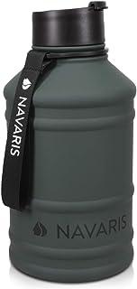 Navaris Botella de Agua de Acero Inoxidable XXL - Cantimplora Grande de Metal de 2.2 L - para Deporte Camping Gimnasio - Garrafa para Bebidas sin BPA