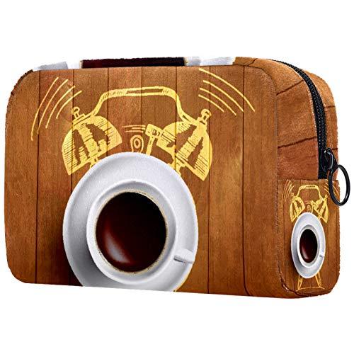 Kosmetiktasche Womens Waterproof Makeup Bag Für Reisen zum Tragen von Kosmetika Wechselschlüssel usw. Wecker und Kaffee-Konzept