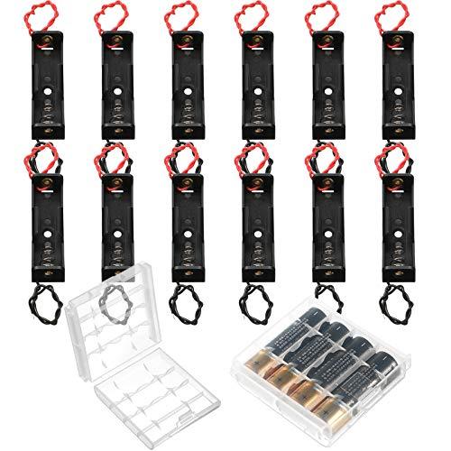 12 Piezas Portapilas AA Caja de Almacenamiento de Batería con Cable Alambre, Caja de Batería de Resorte Metálico Soporte de Pilas AA de 1,5 V con Alfiler con Caja de Batería de 2 Celdas
