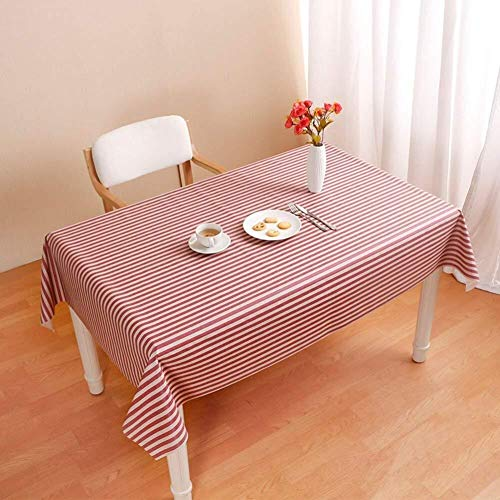 ZHENYUE Zhenyue strepen waterdicht PVC tafelbeschermer tafelbeschermer zonder olie afwasbaar warmte stof robuust eettafel koffie afdekking C 137 x 90 cm (54 x 35 inch) ZHENYUE 137x190cm(54x75inch) Rood