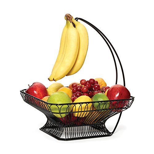 Gourmet Basics by Mikasa 5147846 French Countryside Metal Fruit Basket with Banana Hook, Antique Black