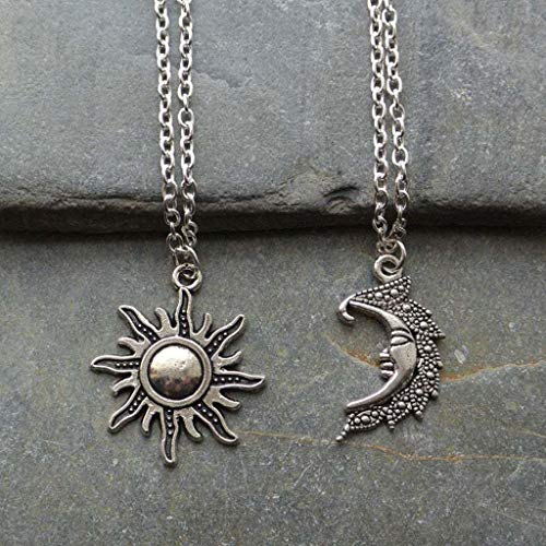 Mengmengda 2 unids vintage amantes del sol y la luna colgante collares de plata envejecida collar planeta rompecabezas conjunto joyería de moda