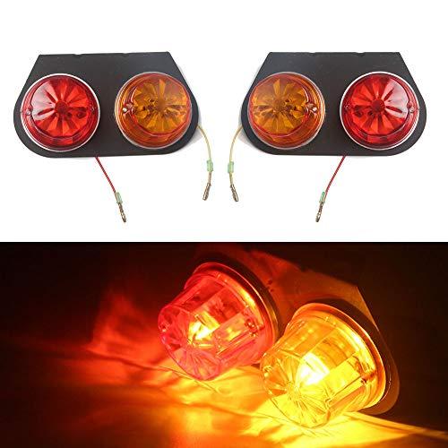 Hehemm Camion Remorque de voiture Tail Light étanche Frein arrière Arrêt lampe diode arrière Rouge Jaune 12 V (lot de 2)