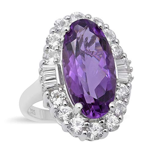 TJC Natural Amethyst Halo Ring for Womens in 925 Sterling Silver Anniversary Jewellery Size N with White Zircon, TCW 8.71ct