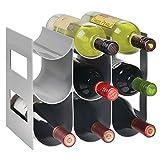 mDesign praktisches Wein- und Flaschenregal – Weinregal Kunststoff für bis zu 9 Flaschen – freistehendes Regal für Weinflaschen oder andere Getränke – grau