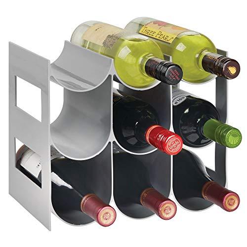 mDesign Pratico scaffale per bottiglie di vino – Portabottiglie in plastica senza BPA per 9 bottiglie – Organizer in plastica autoportante per ogni tipo di bottiglia – grigio