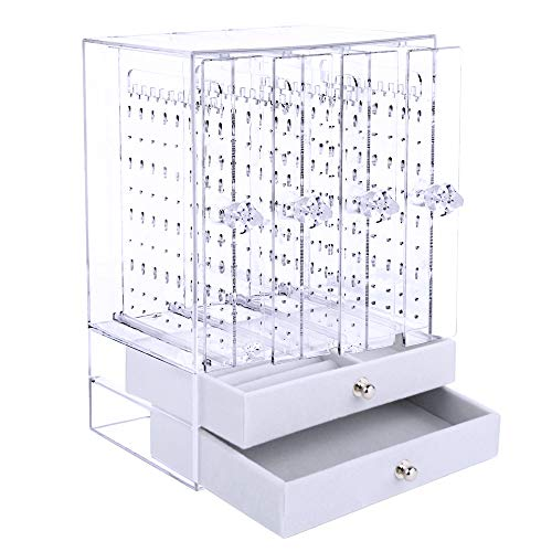 VINFUTUR Acrylic Earring Holder with Drawers Earring Display Stand Dustproof Earring Chains Studs Necklaces Storage Organiser Acrylic Jewellery Organiser Storage Box (4 Panels + 2 Drawers, Clear)