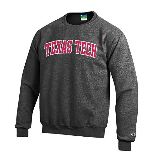 Champion NCAA Texas Tech Red Raiders Men's Eco Power Blend Crew Neck Sweat Shirt, Small, Gray