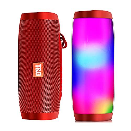 Altavoces Bluetooth Portátiles, Luz LED A Prueba De Agua, Inalámbrico, Sonido Fuerte, Potente Par Estéreo De Graves, Bluetooth 5.0, Llamada Manos Libres, Portátil Para Exteriores ( Color : Red )