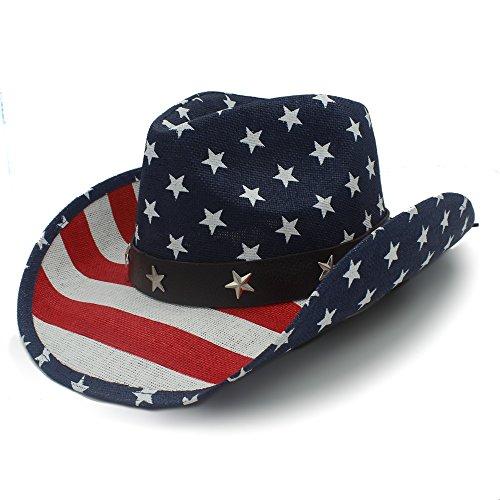 HXGAZXJQ Sombrero Trabajo Hecho a Mano Sombrero de Paja de Verano Mujeres Hombres Sombrero de Vaquero Occidental Hueco con Bandera Americana Juego de Vestir (Color : 1, Size :...