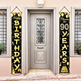 90th Birthday Party Banner Decorations Cheers to 90 Years Banner 90th Party Supplies Black Gold Welcome Porch Sign for Indoor Outdoor(90 Years Birthday)