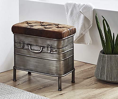 Haku Möbel Bank - Sitzruhe aus Stahl in anthrazit-braun, Höhe 48 cm - 2
