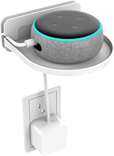 Outlet Shelf, OOOUSE Echo Dot Holder Built-in Cable Storage Space, Wall Charging Shelf for Cell Phone, Dot 2st and 3rd Gen, Google Home (White, Black)