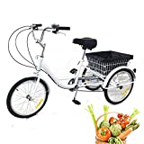 Kaibrite Triciclo para adultos de 20 pulgadas, 3 ruedas, 8 velocidades, con cesta y cojín gigante, bicicleta, color blanco, para adultos mayores
