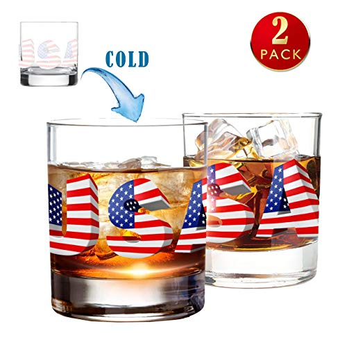 2PCS Cold Color Changing Whiskey Glasses 10oz Scotch Glass Tumblers for Drinking Bourbon CognacIrish Whisky Cups