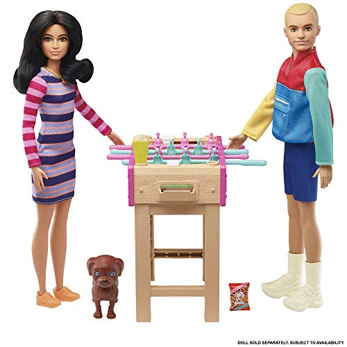 Barbie Set de juego con futbolín, perrito y accesorios de juguete para...