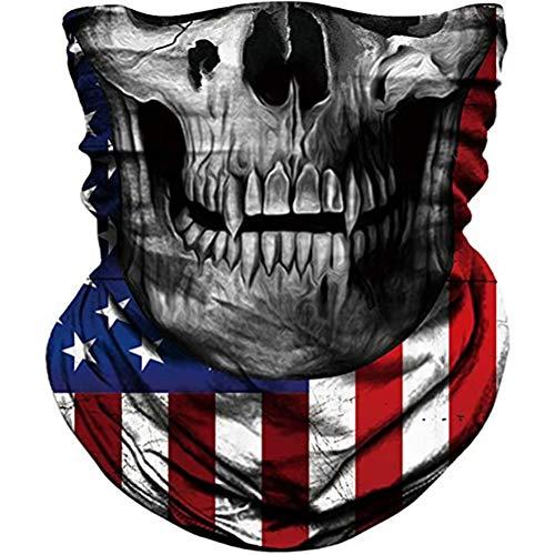 Máscara de calavera para el cuello, polaina, bandana, cortavientos, antipolvo, para exteriores - Negro - talla única