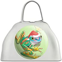Santa Hat Rainforest Christmas Tree Frog White Metal Cowbell Cow Bell Instrument
