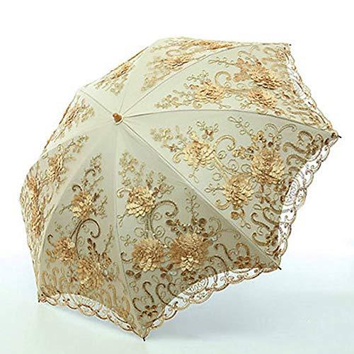 XCWQ paraplu kant bloemen-klapscherm voor vrouwen, uv-werende regenscherm vouwen, borduren roze bloementas-paraplu