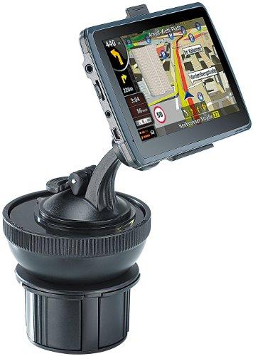 NavGear Navigation Halterung: Universal-Getränkehalter-Adapter für Navi-Halterungen (Navi-Halterungen fürs Auto)
