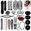 90 pcs Hair Styling Set, Hair Design Styling Tools Accessories DIY Hair Accessories Hair Modelling Tool Kit Hairdresser Kit Set Magic Simple Fast Spiral Hair Braid (BBB)