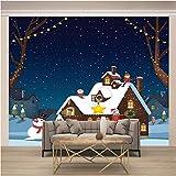 Papel pintado no tejido Moderna Diseño Salón Dormitorio Telón de Fondo Pared Hogar Decoración 200x140 cm Muñeco de nieve y casa APAJSG