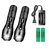 Skywolfeye 2 Pack High Lumen 18650 LED Small and Bright Flashlight,18650 Rechargeable Battery, 5 Modes,Zoomable Flashlight, Waterproof Flashlight,Perfect for Hiking Camping Walking Home Emergency etc