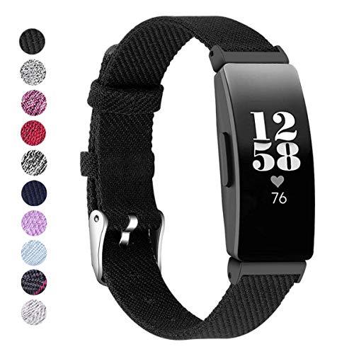 KIMILAR Armbänder Kompatibel mit Fitbit Inspire & Inspire HR Armband Stoff, Ersatzband Nylon Gewebte Band Uhrenarmband für Fitbit Inspire HR/Fitbit Inspire Fitness Tracker Damen & Herren-Schwarz, S