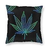 huatongxin Marihuana Contorno Azul Verde Hoja cáñamo Cojines Fundas Acento hogar sofá cojín Funda de Almohada Regalo Decorativo 18X18 Pulgadas