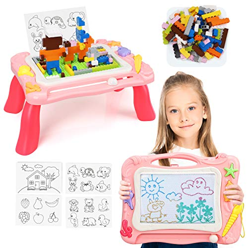 TOY Life Magnetic Drawing Board for Kids - 3 in 1 Magna Doodle Board for Toddlers - Kids Activity Table with Toy Blocks - Sketch Doodle Board for 2 3 4 5 Year Old Boys Girls - Tabletop Easel for Kids