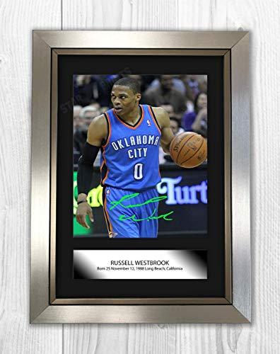 Póster con texto en inglés 'Good With Wood Yorkshire Russell Westbrook NBA Oklahoma City Thunder Reproducción Autógrafo A4' (marco plateado)