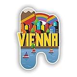2 x 10cm/100mm Vienna Skyline Vinyl Stickers Travel Luggage #10405