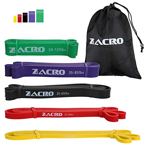 Zacro Elastiche Resistenza Band (5 Packs) Elastiche Fitness Band di Resistenza in Lattice Naturale Resistente Fitness Premium Resistance Band per Allenamento Stretching Powerlifting Resistenza