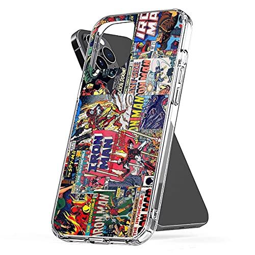 Pure Clear Custodie per telefoni antiscivolo Protettivo per Iron Man Compatibile con iPhone 12/12 Pro Max 12 mini 11 Pro Max SE X XS Max XR 8 7 6 6s Plus Custodie