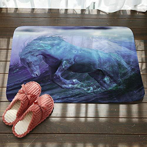 Deurmat tapijt, 3D-print creatieve Ocean Blue Horse Animal anti-slip voordeur mat, deurmat Welkom slaapkamer gang tapijt rechthoekige zachte deurmat voor huis woonkamer keuken 50×80cm