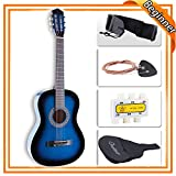 LAGRIMA 38' Acoustic Guitars, Natural 6 Steel Strings Youth Kids Guitars with Nylon Bag,Tuner, Picks, Strap for Beginners, Adults Blue