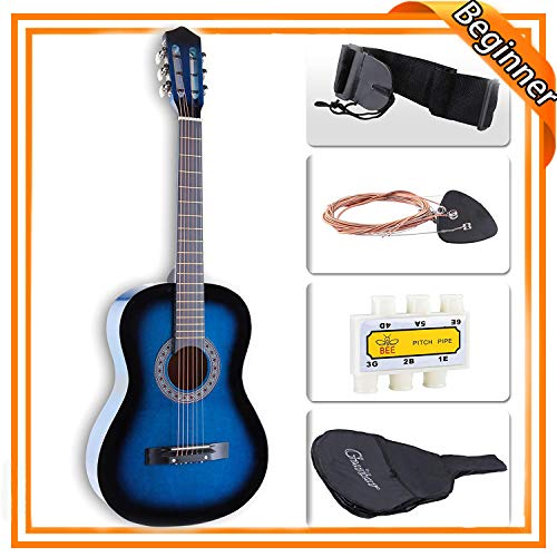 LAGRIMA 38 inch Beginner Acoustic Guitar Starter Kit Kids Adult with Guitar Case, Strap, Tuner & Pick Steel Strings (Blue)