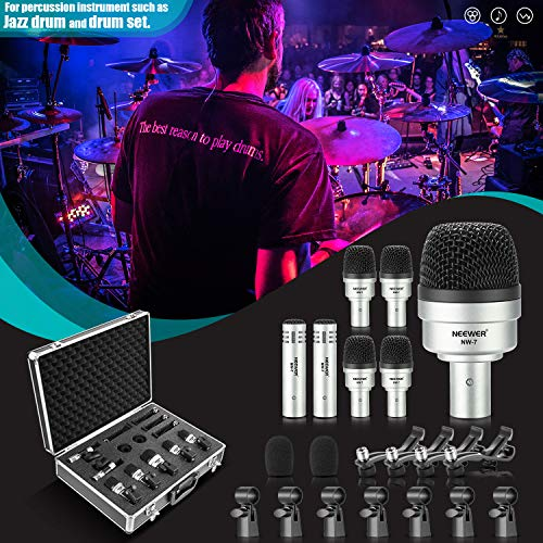 Neewer 7 Pieces Wired Drum Instrument Microphone Kit - Bass...