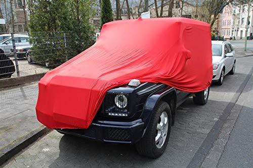 AMS Vollgarage Mikrokontur® Rot mit Spiegeltaschen für Mercedes G-Klasse Lange Ausführung, schützende Autoabdeckung mit Perfekter Passform, hochwertige Abdeckplane als praktische Auto-Vollgarage