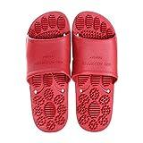 JFHZC Zapatillas de ducha de baño de secado rápido, antideslizantes con puntos de masaje en verano, adecuadas para baño y piscina, color rojo