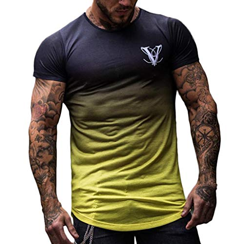 JIekyoi Moda Versión Mejorada Color Degradado Cuello Redondo Fitness Camisetas De Hombre Ocio Flexibilidad Camisetas Manga Corta Hombre Sudaderas Ropa Hombre