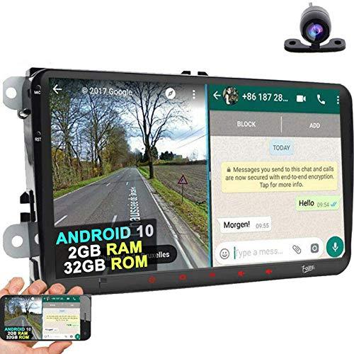 Android 10 Radio de coche de 9 pulgadas pantalla táctil capacitiva HD GPS navegación Bluetooth USB DSP DAB+ OBD2 ROM 2G RAM 32G ROM para VW Passat Golf MK5 MK6 Jetta T5 EOS Polo Touran Seat Sharan