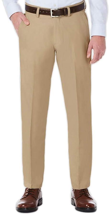 Haggar H26 Men's Performance 4 Way Stretch Straight Fit Trouser Pants - Khaki 30x30