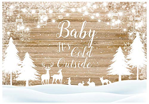 Funnytree Christmas Snowfield Forest Backdrop Rustic Wood Wall Winter White Snowflakes It's Cold Outside Photography Background Baby Shower Party Decoration Photo Studio Booth Props 7x5ft