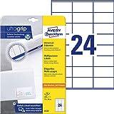 AVERY Zweckform 6122 Adressaufkleber (mit ultragrip, 70 x 36 mm auf DIN A4, Papier matt, bedruckbare, selbstklebende Adressetiketten, 240 Klebeetiketten auf 10 Blatt) weiß