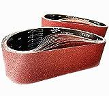 NIKARUNY Bandas de Lija 100 x 915 mm, 15 piezas Bandas de lijado 3 x grano 80/120/150/240/400 para Lijadora de Banda para Pulir Banda Abrasiva