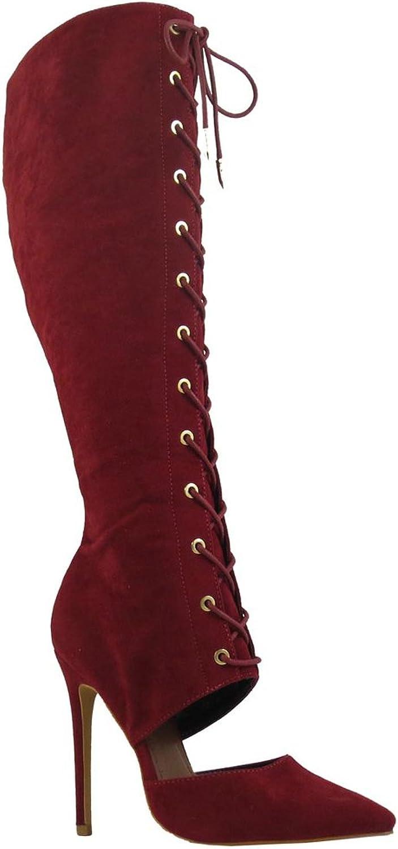 shoes Republic LA Wine Pointy Toe Lace up Corset Knee high Boots Stiletto Women's shoes