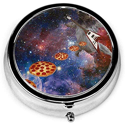 Gitaar spelen faultier Slinging Pizza Vitamine Medicijnhaak Ronde pille, portemonnee, tas pille boxen organizer met 3 vakken
