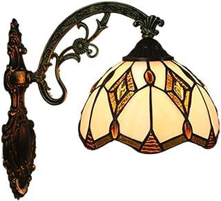Tiffany apliques Europea barroco Tiffany lámpara dormitorio luz tradicional Espejo delantero luz Lámpara retro de baño color Pantalla de Cristal Lámpara de pared